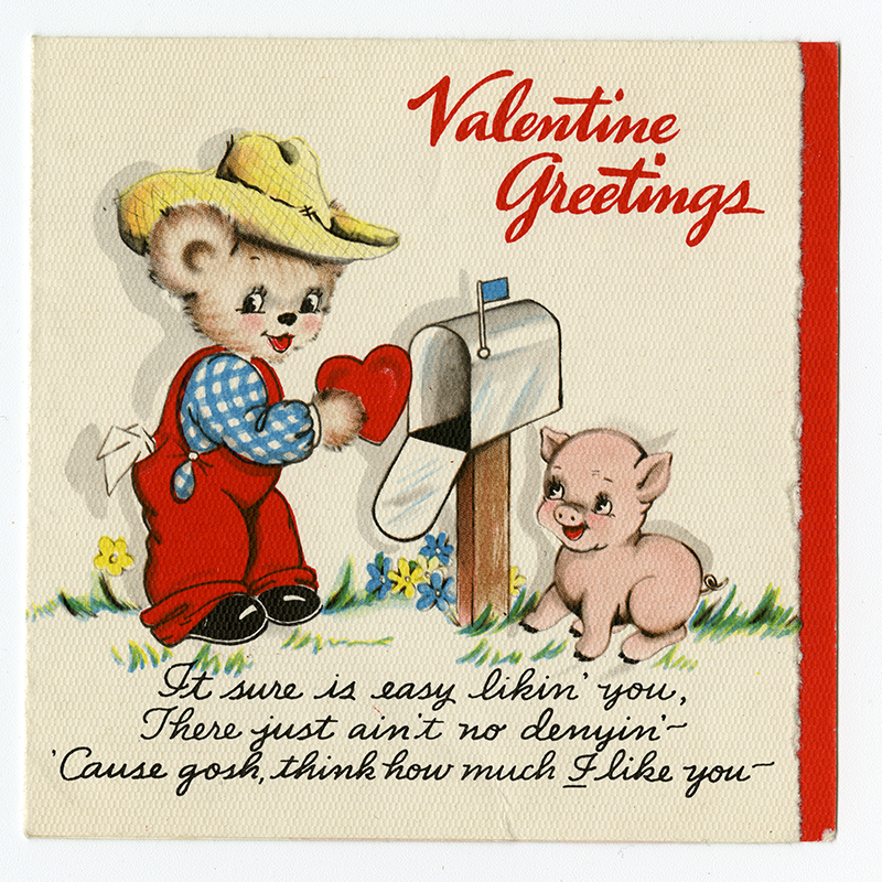 Valentine card showing a cartoon farmer bear and a happy piglet.