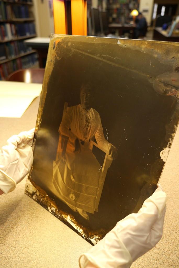 Glass plate negative showing portrait of Mother Jones