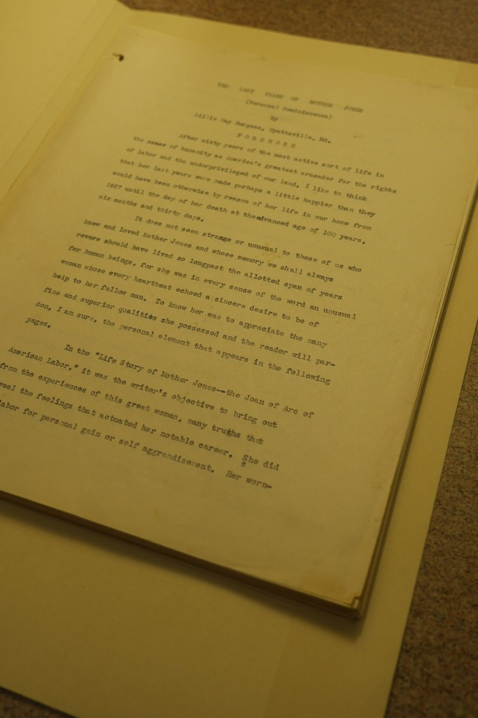 First page of typescript reminiscence of Mother Jones