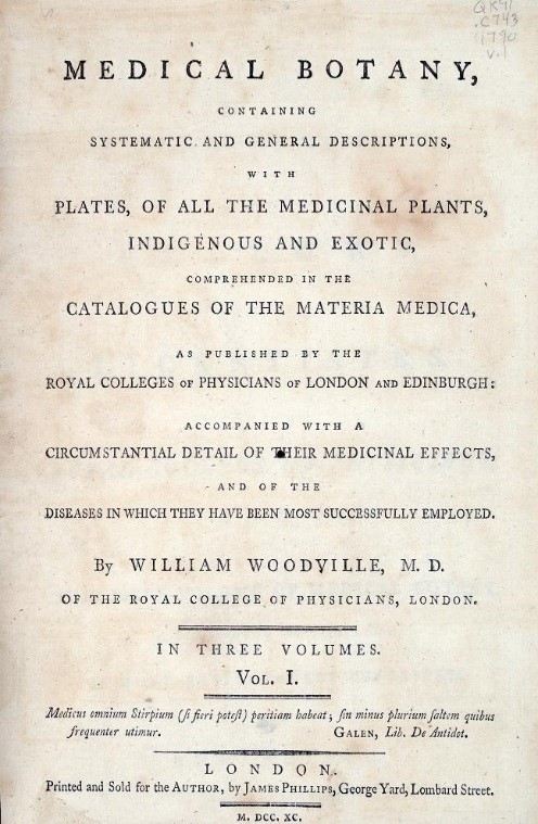 Title page of William Woodville's Medical Botany book