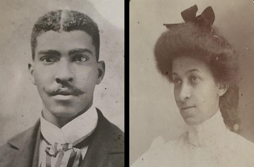Portraits of Anne Spencer's parents, left: Joel Cephus Bannister, right: Sarah Louise Scales.