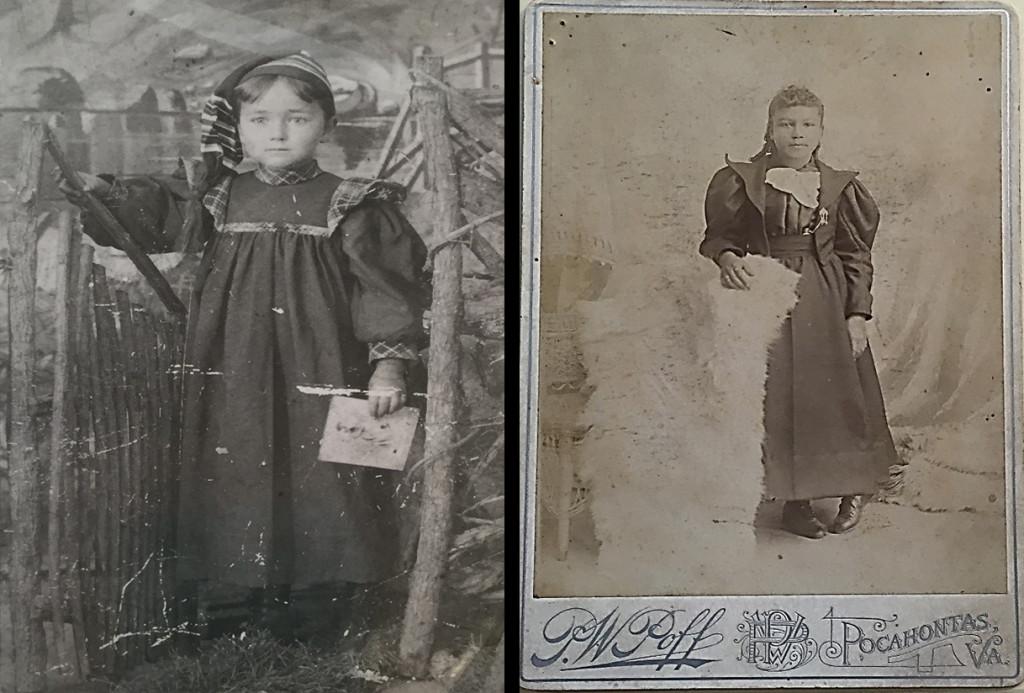 Left: Elsie Brown, standing portrait.  Right: Annie Bethel Bannister Scales, age 14, standing portrait.