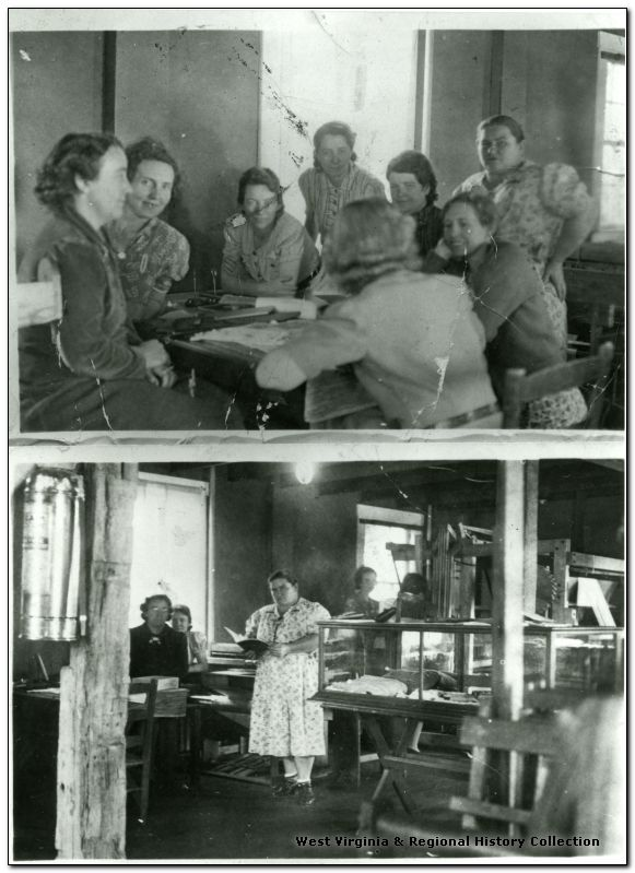 Top: women gathered at a table in the Weaving Room at Arthurdale, WV; bottom, women among the equipment.