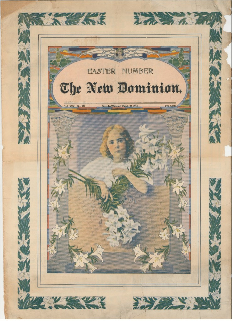 Scan of The New Dominion newspaper Easter issue cover, shows child with lillies