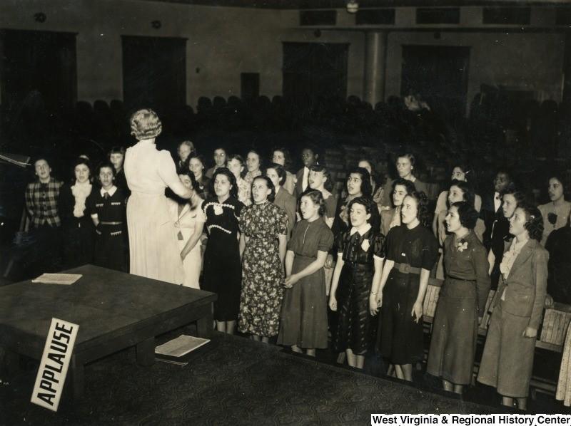 Wayne County Yorkville High School Girls' Glee Club practicing