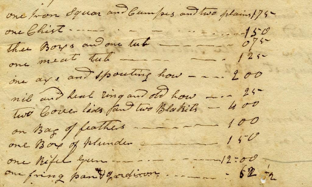 Excerpt of Estate Record for Thomas Estlack, 1822, Harrison County, WV