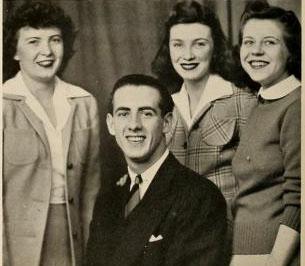 Group portrait of Betty Head, Guy Peterson, Alice June Mason, and Virginia Bertrand, 1942
