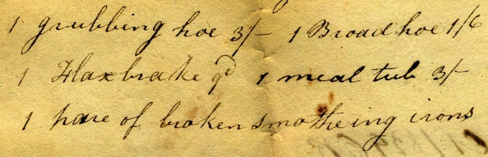 """Piece of manuscript showing """"Flax break"""" in the appraisal list for William Hall, 1829"""