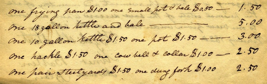 """Piece of manuscript mentioning """"Hackle"""" in the appraisal list for Richard Bond, 1820"""