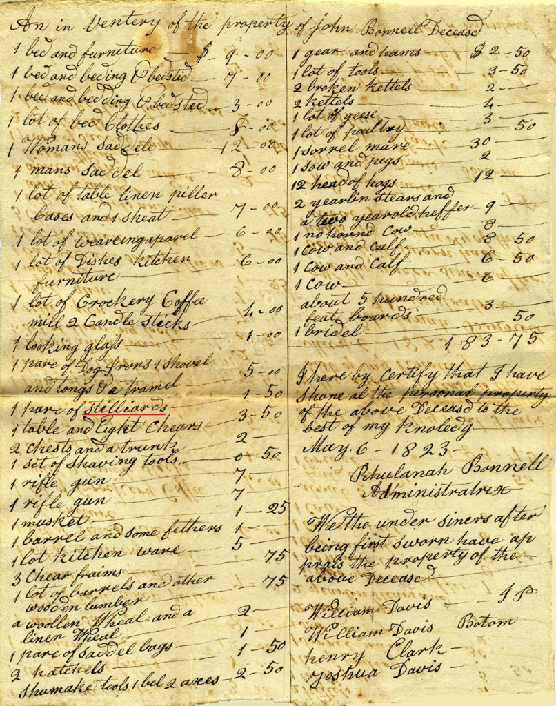"""Manuscript showing """"Stilliards"""" in the property inventory for John Bonnell, 1823"""