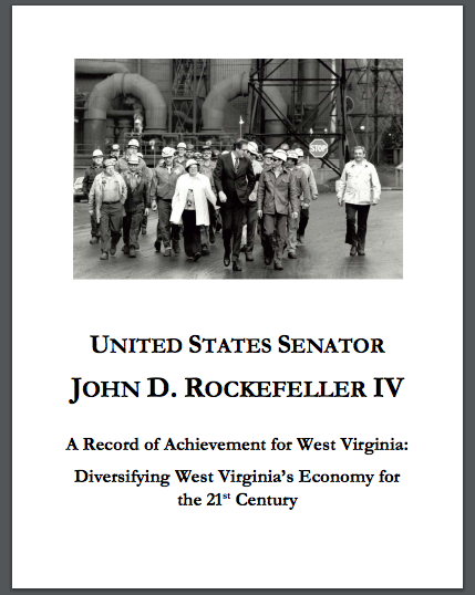 """Poster for exhibit of John D. Rockefeller IV """"A Record of Achievement for West Virginia: Diversifying West Virginia's Economy for the 21st Century"""""""