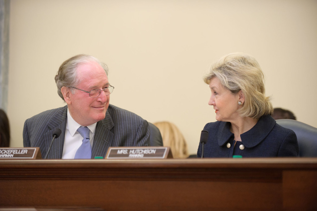 Senator Rockefeller seated with Senator Kay Bailey Hutchison