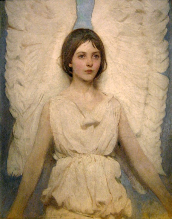 Painting Winged Figure by Thayer, showing upper body of young girl with angel wings