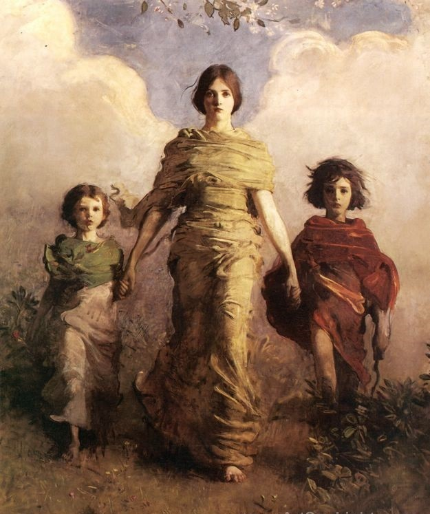 Painting The Virgin by Thayer, showing young girl in gold, flanked on both sides by a younger child