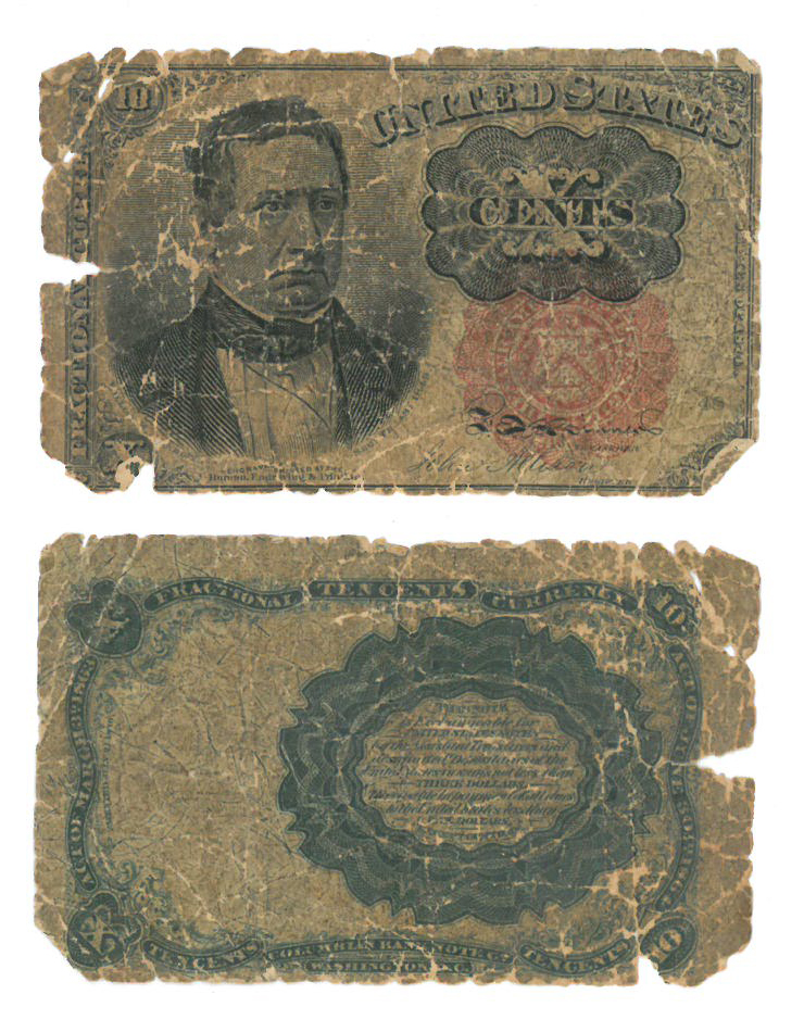 US 10 cent note featuring William Meredith (fifth issue, 1874), front and back