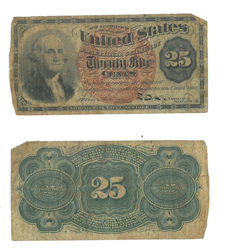 US 25 cent note featuring George Washington (fourth issue, ca. 1869), front and back