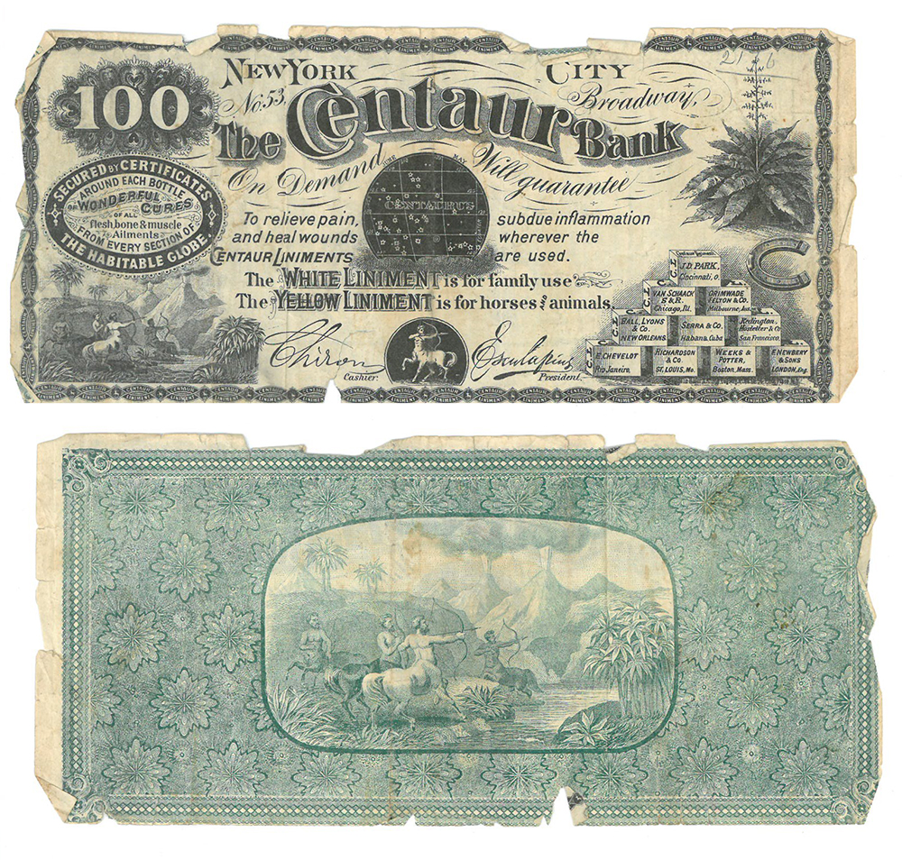 Centaur Bank Note advertising liniment, front and back