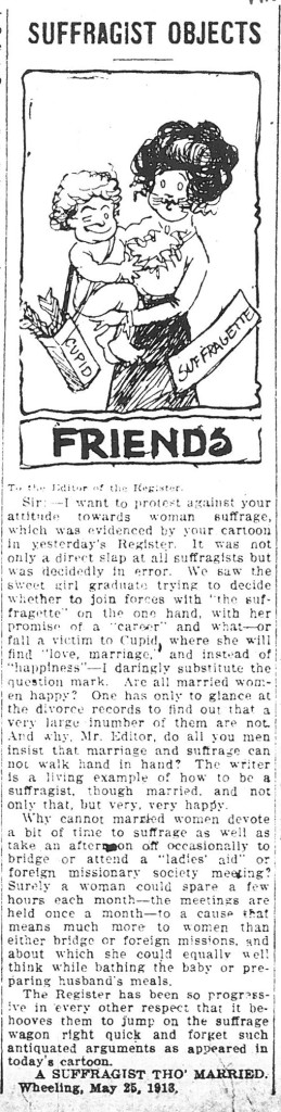 Cartoon in which a suffragette embraces Cupid, and a letter to the editor in the Wheeling Register