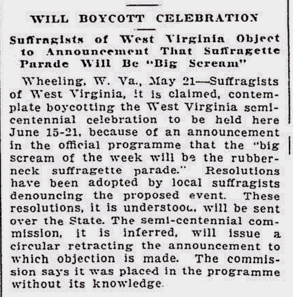 News article about WV suffragettes planning to boycot the WV Semi-Centennial Celebration due to rubber-neck suffragettes parade