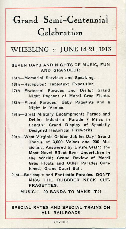 Second page of leaflet advertising the schedule of events of the WV Semi-Centennial Celebration