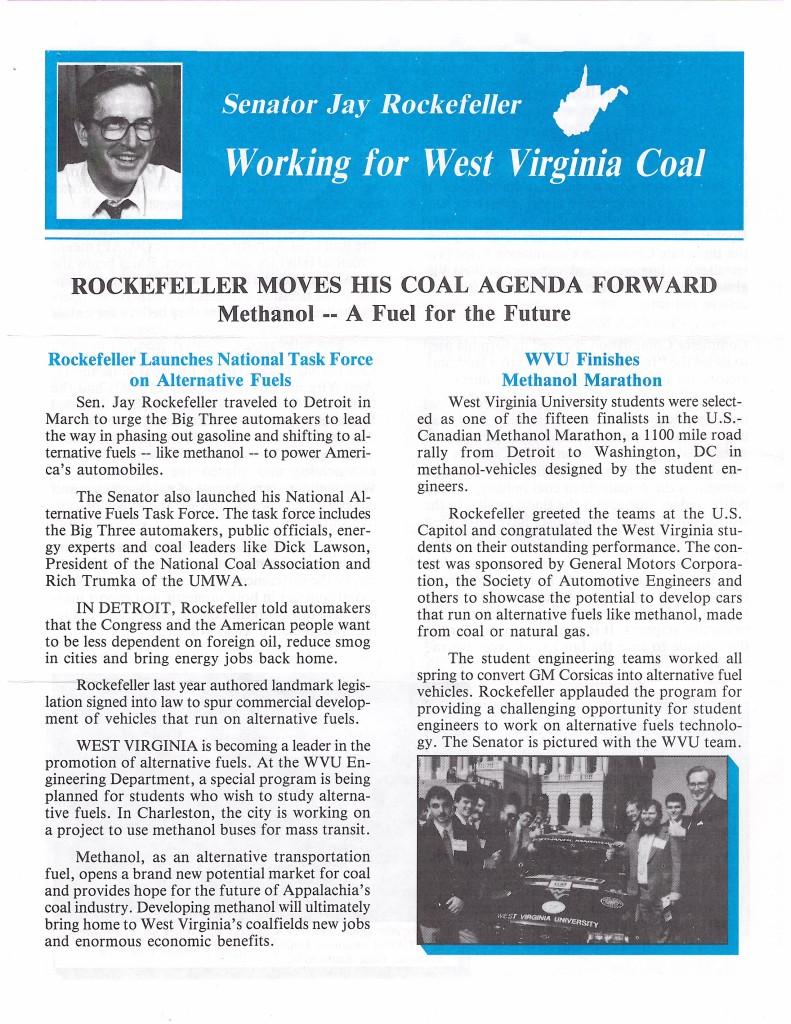 Page of a newsletter about Senator Rockefeller's Coal Agenda