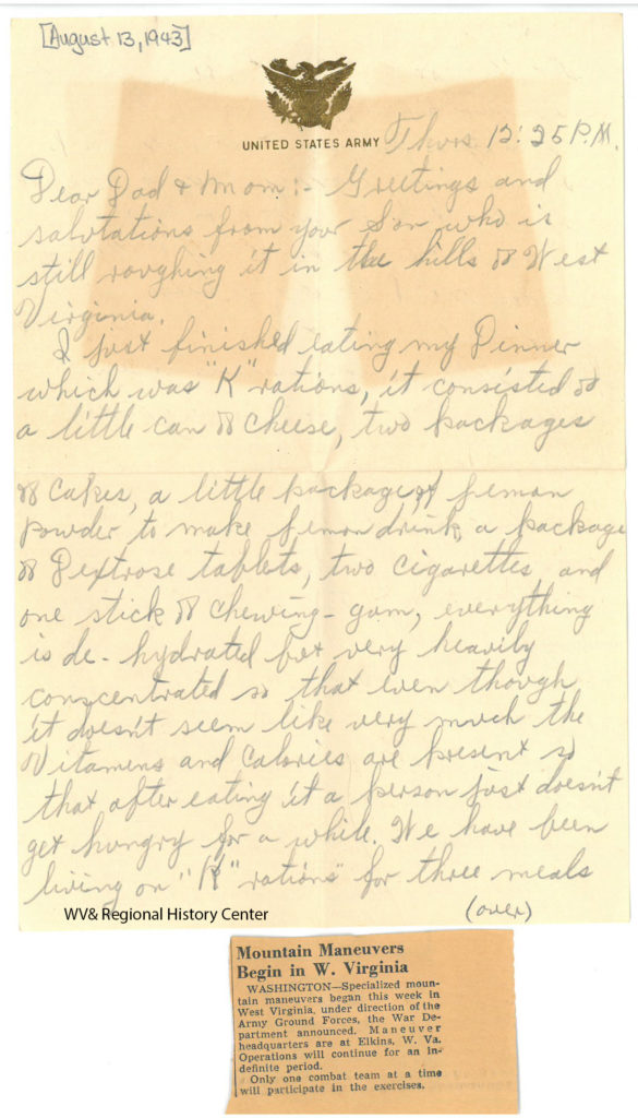 Letter from Private Ralph J. John to his parents, August 13, 1943