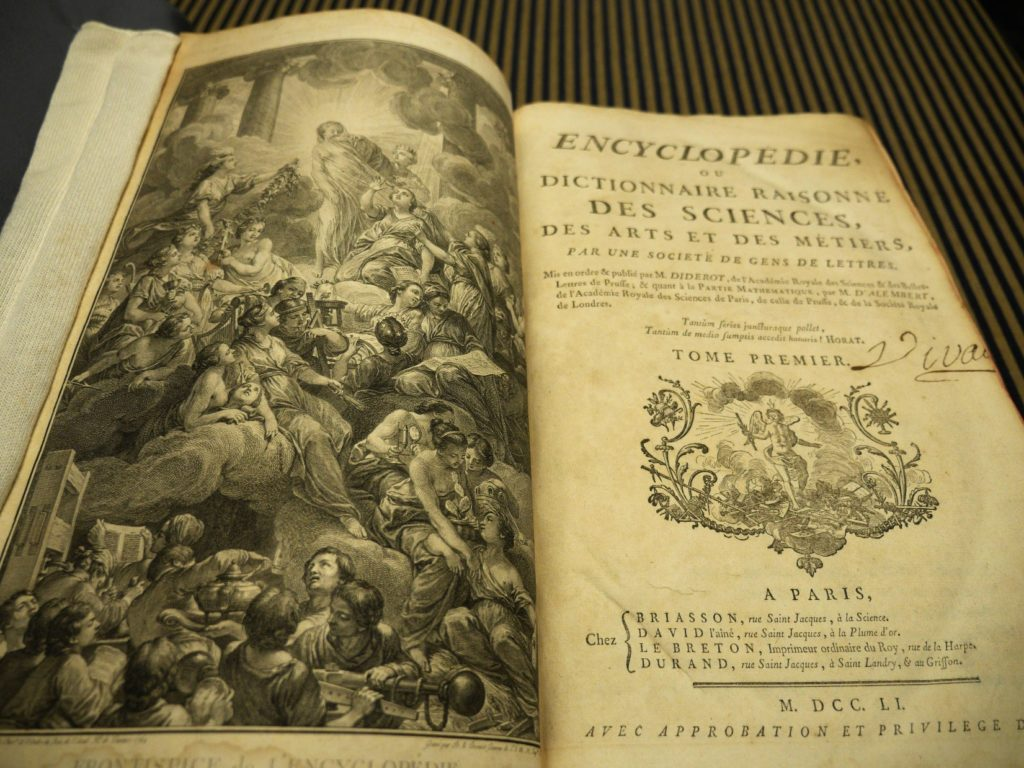 Decorative plate and title page of Diderot's Encyclopedia