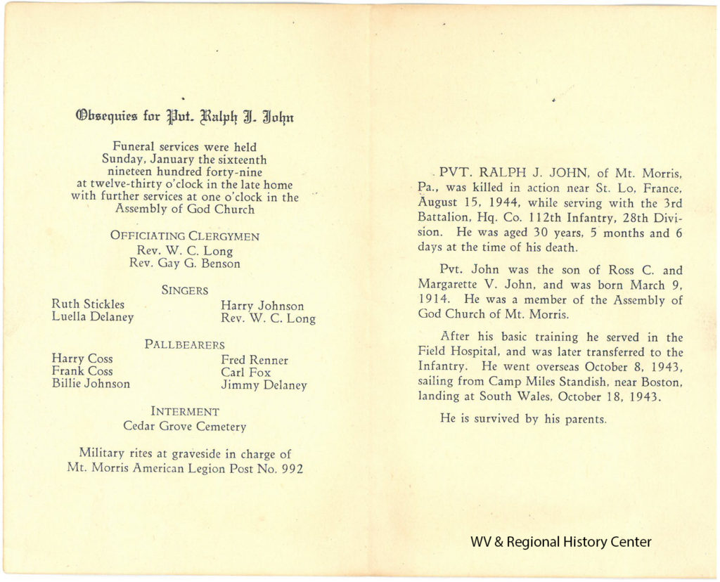 Funeral Program Card for Private Ralph J. John