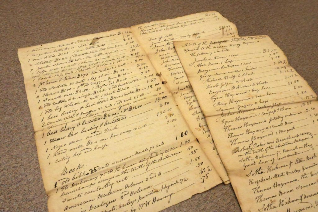 Handwritten appraisal records for the Estate of William Haymond