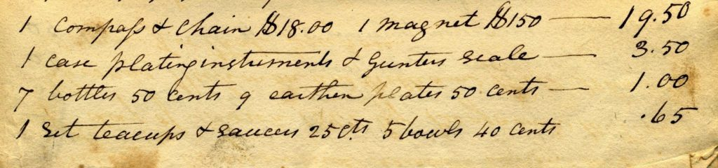 Detail of handwritten Appraisal of William Haymond Estate showing list of items and prices