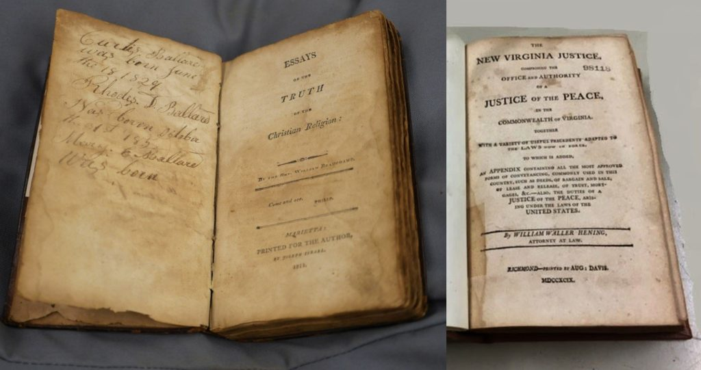 Left: cover page of book Essays on the Truth of the Christian Religion, published in Marietta, Ohio in 1811. Right: cover page of book The New Virginia Justice, published in Richmond, Virginia in 1799.