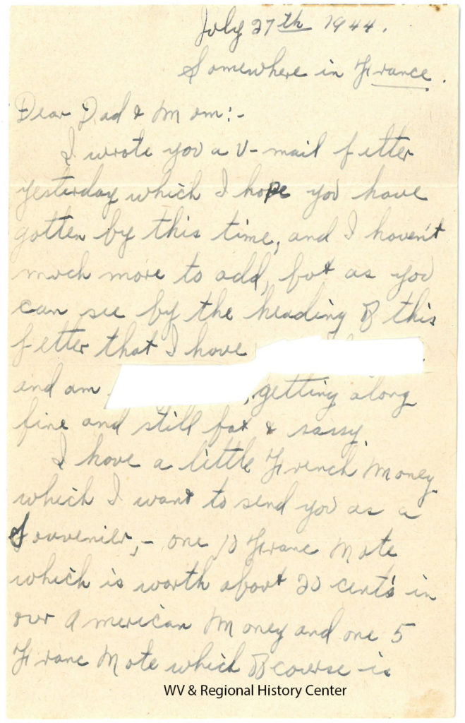 Letter from Private Ralph J. John to his parents, July 27, 1944