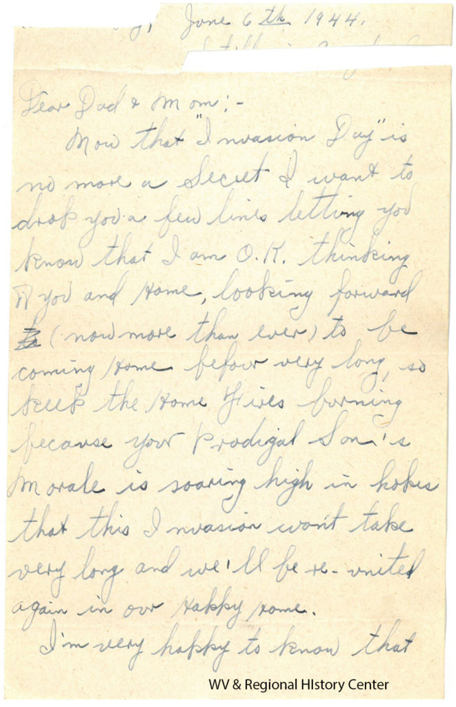 Letter from Private Ralph J. John to his parents, June 6, 1944