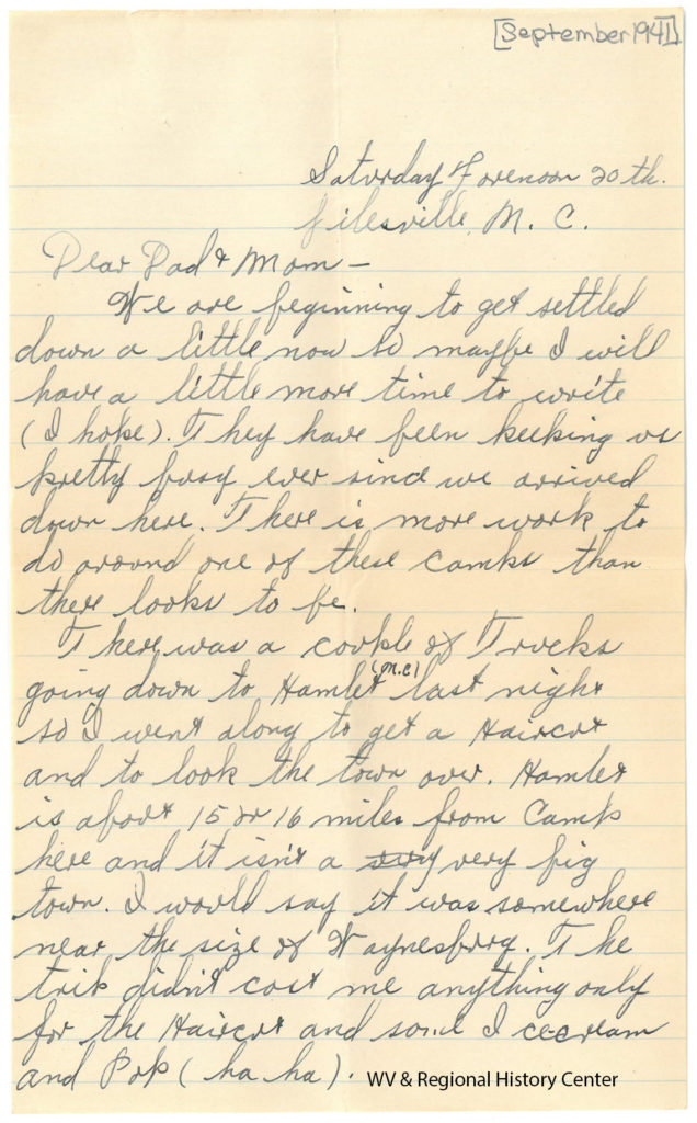 Letter from Private Ralph J. John to his parents, September 1941