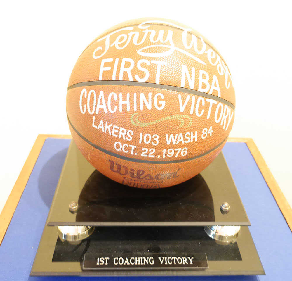 Basketball commemorating Jerry West's First NBA Coaching Victory