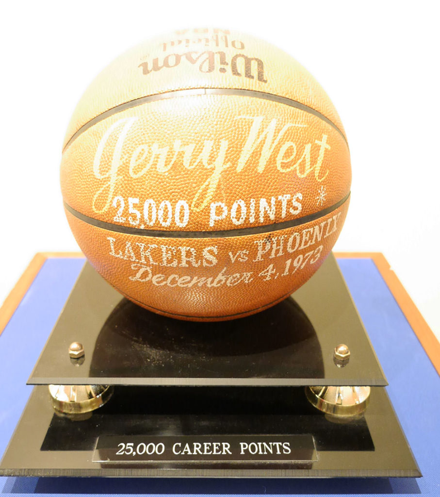 Basketball commemorating Jerry West making 25,000 points in the NBA