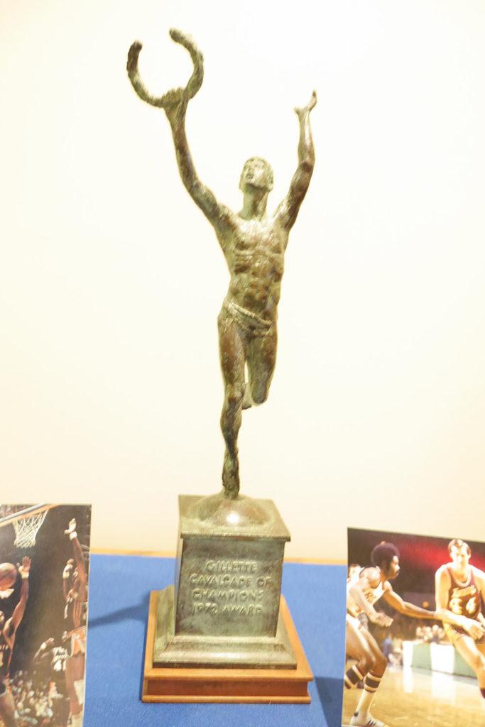 Gillette Cavalcade of Champions Award; statuette of man standing on pedstal holding laurel wreath