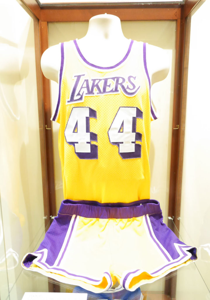 Jerry West's yellow 44 Lakers jersey and shorts