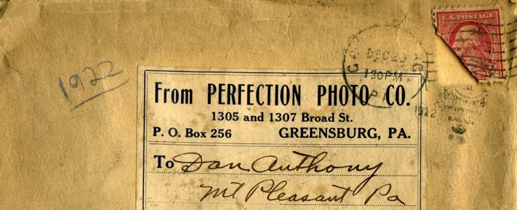 Envelope from Perfection Photo Co. of Greensburg, PA to Dan Anthony
