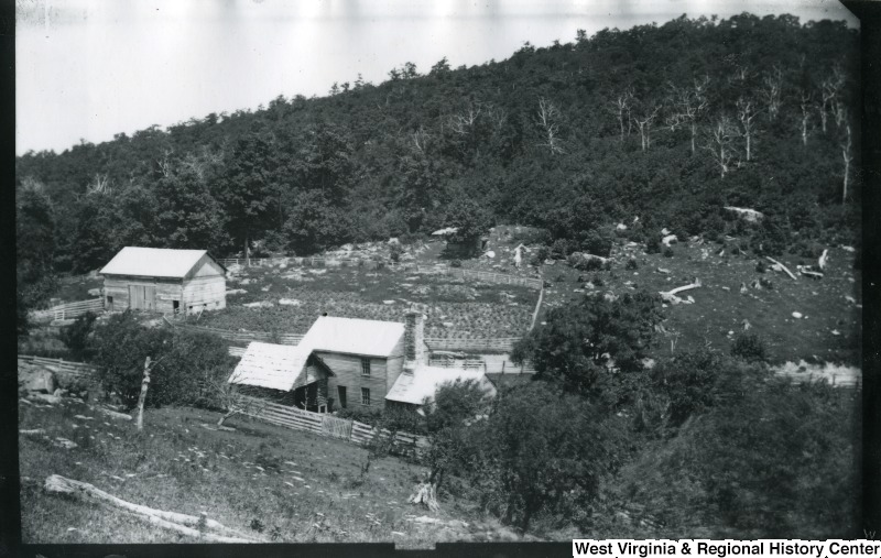 Battleground at the Top of Rich Mountain from Union Side Looking North, July 15, 1884--view includes houses