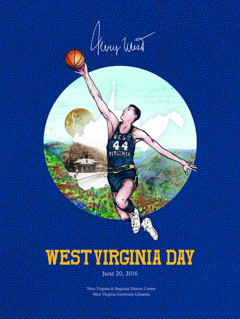 WVRHC's commemorative WV Day poster showing Jerry West jumping with a basketball