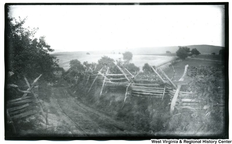 View of Bloody Lane, surrounded by fences, on the Antietam battlefield in Maryland, August 6 1884.