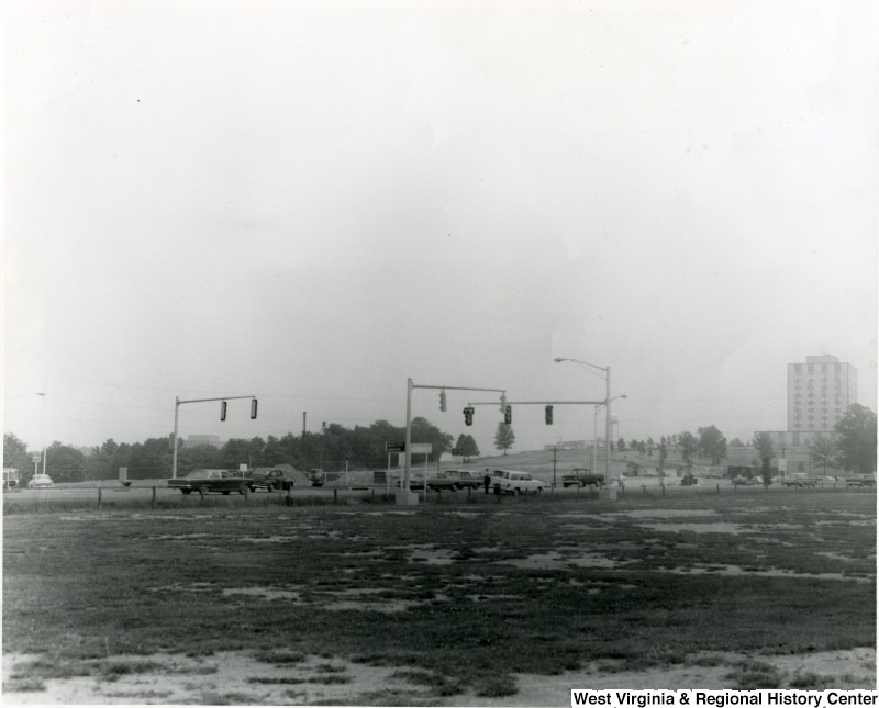 Street lights at the intersection of Monongahela Boulevard and Patteson Drive, Morgantown, WV, 1966