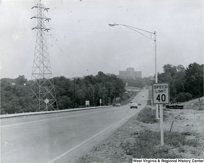 View down the completed Patteson Drive towards the Medical Center in 1966