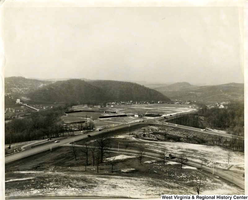 Aerial view of the intersection of Monongahela Boulevard and Patteson Drive, Morgantown, W V, ca. 1960-1970