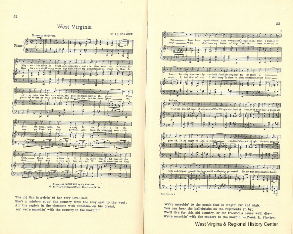 Two pages of music for the song West Virginia in an 1918 Song Book
