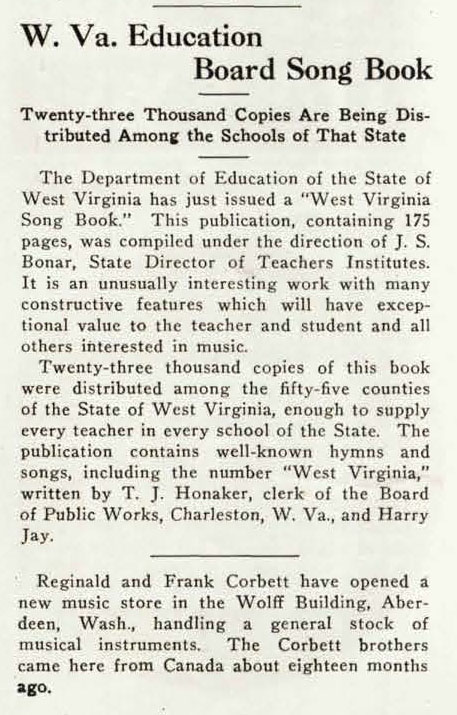 "News clipping titled ""W Va Education Board Song Book"""