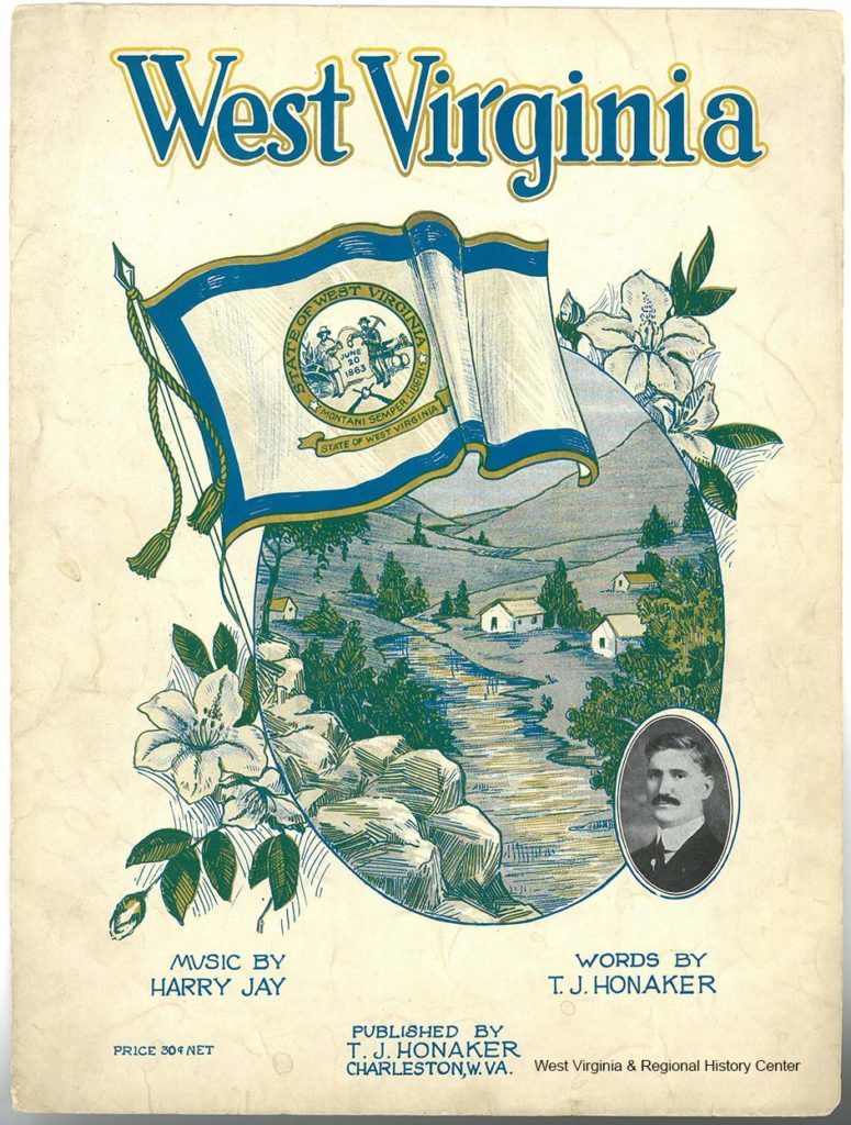 Cover of sheet music booklet for song West Virginia