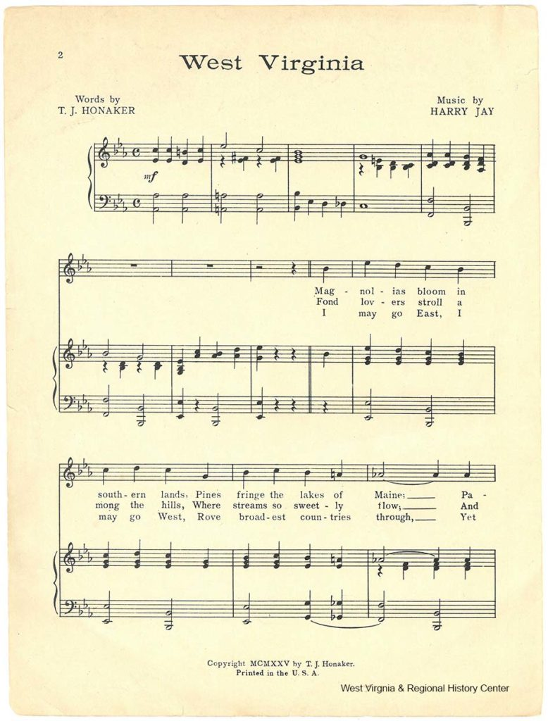First page of music in sheet music booklet for song West Virginia