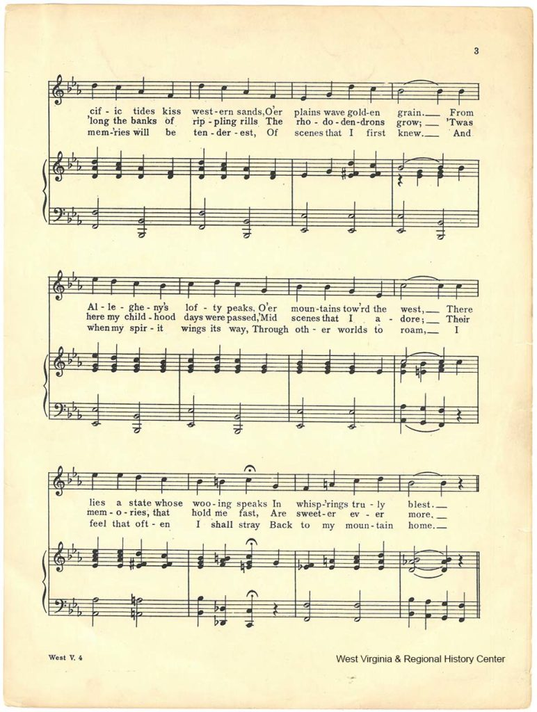 Second page of music in sheet music booklet for song West Virginia